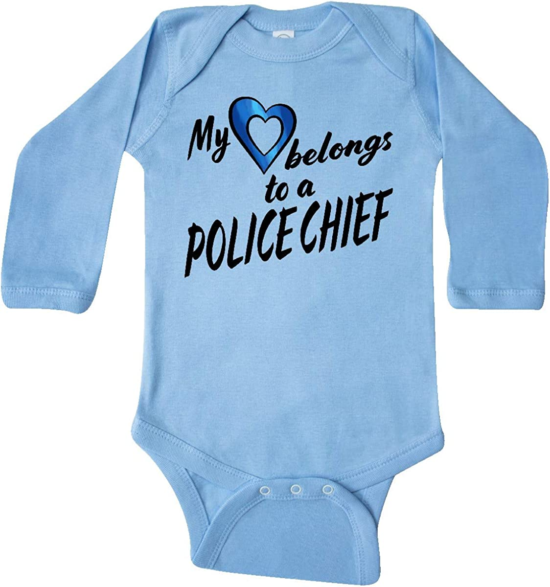 inktastic My Heart Belongs to a Police Chief with Blue Heart Long Sleeve Creeper