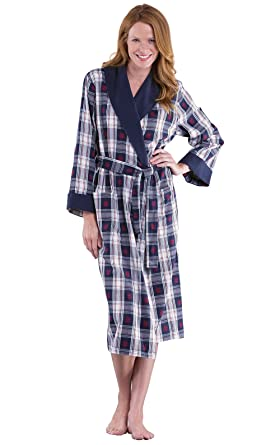 PajamaGram Snowfall Plaid Cotton Flannel Wrap Robe for Women 92d95d201