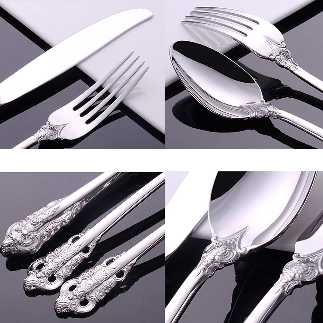 Classic Silver Cutlery Set Stainless Steel Flatware Set Mirror Polish Dinnerware Fork Knife Spoon Durable Stain and Fade Resistant Silverware Wedding Gift 4 Pieces