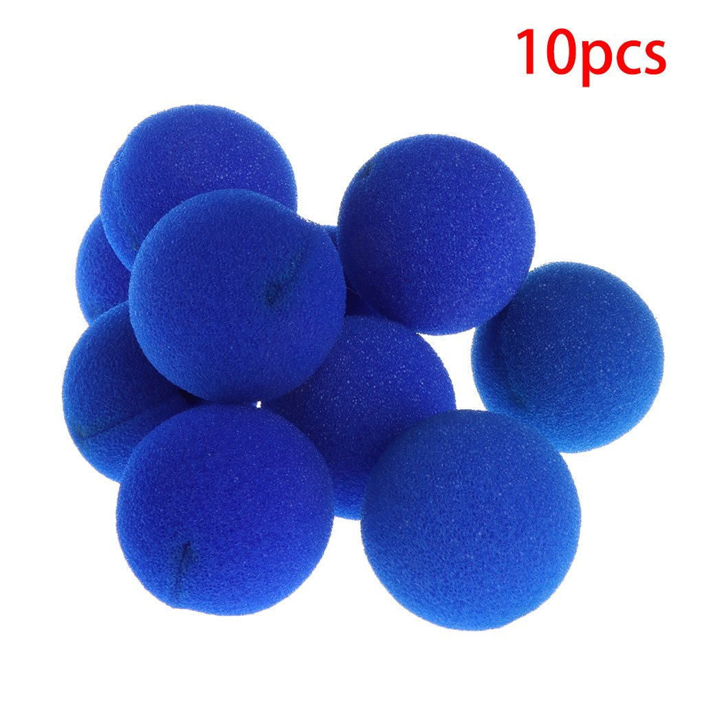 Poity 10Pieces Sponge Ball Clown Nose for Christmas Halloween Costume Party Decoration - Blue