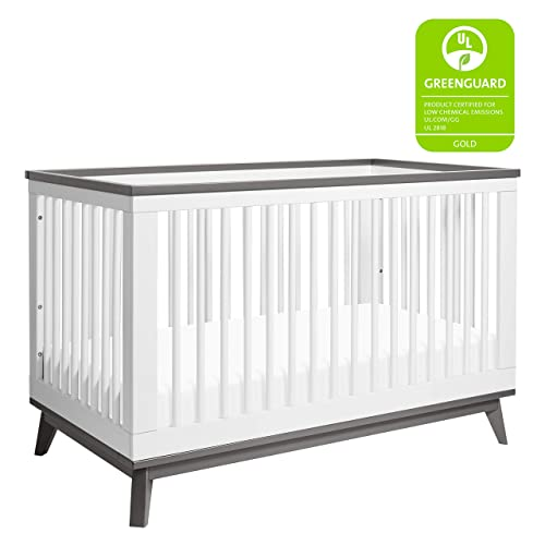 Babyletto Scoot 3-in-1 Convertible Crib with Toddler Bed Conversion Kit in White Slate, Greenguard Gold Certified