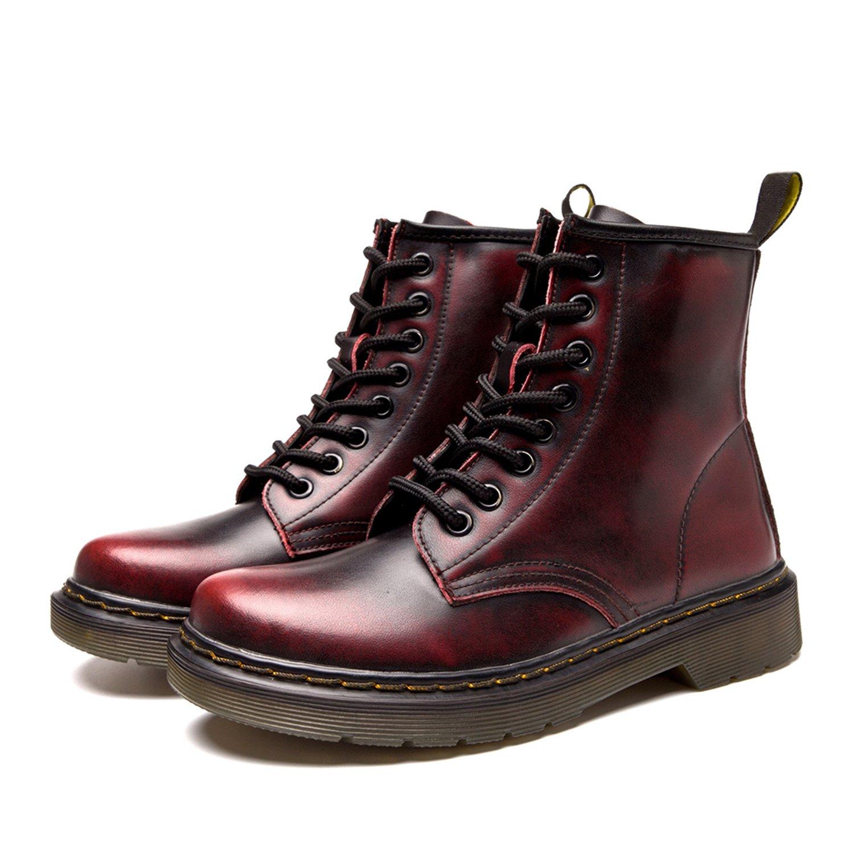 ukStore Damen Martin Stiefel Derby Wasserdicht Kurz Stiefeletten Winter Herren Worker Boots Profilsohle Schnürschuhe Schlupfstiefel,Warm Gefüttert/Schwarz 43 EU