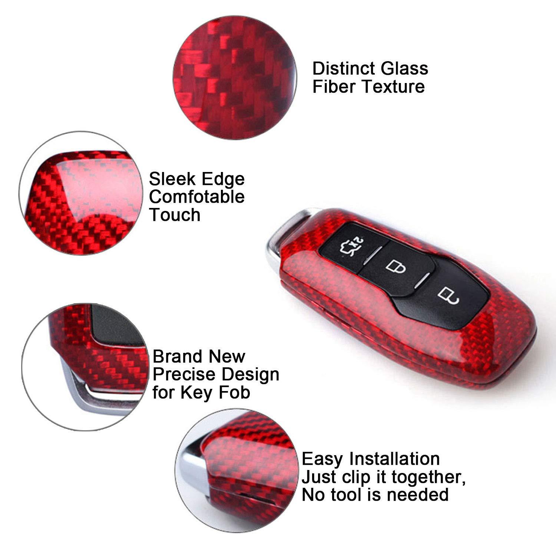 Kwaks Funda para Llave de Coche de Fibra de Carbono Real Compatible con Ford Mustang 3 Botones