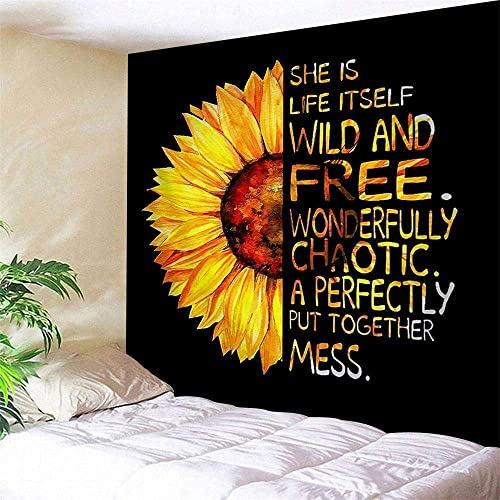 90X71, Extra Large Sunflower Wall Tapestry Natural Floral Print Oil Painting Artwork With Half Sunflower Half Motivational Words Tapestry Wall Hanging Home Decor for Living Room Bedroom Wall Blanket
