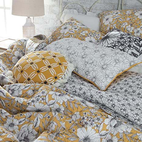 Rod S Country Grace Adobe Floral Vintage Yellow Reversible Quilt Size Full Queen Home Kitchen