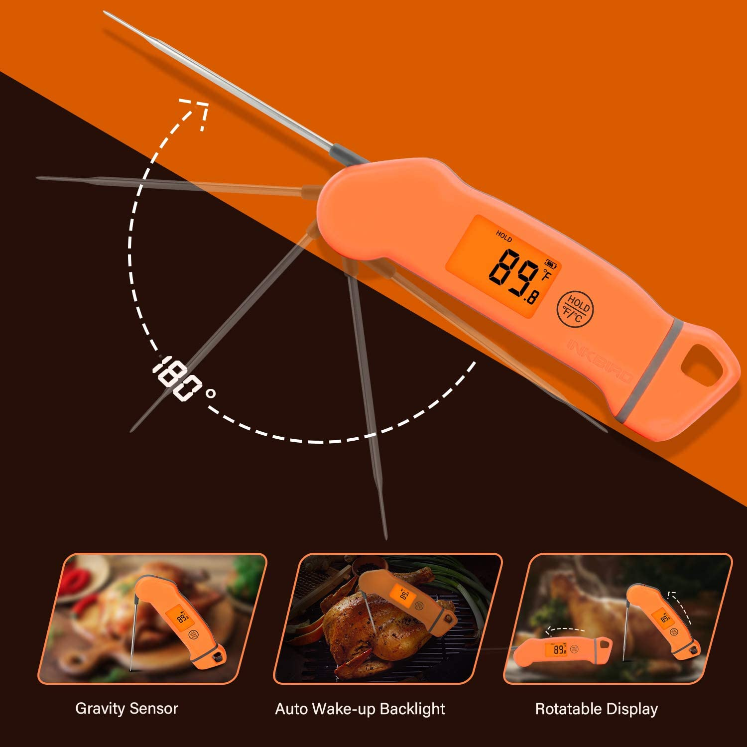 Inkbird Digital Instant Read Meat Thermometer, Candy Thermometer with Rotatable Screen Auto Backlight, Waterproof Kitchen Food Thermometer for Grill, Smoker, Kitchen, BBQ, Oven, Candy, Baking: Kitchen & Dining