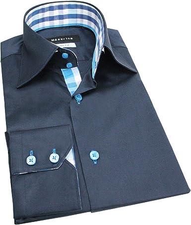 Meadrine Camisa Hombre Cuadros Azul Marino Delgado - XS, Azul: Amazon.es: Ropa y accesorios