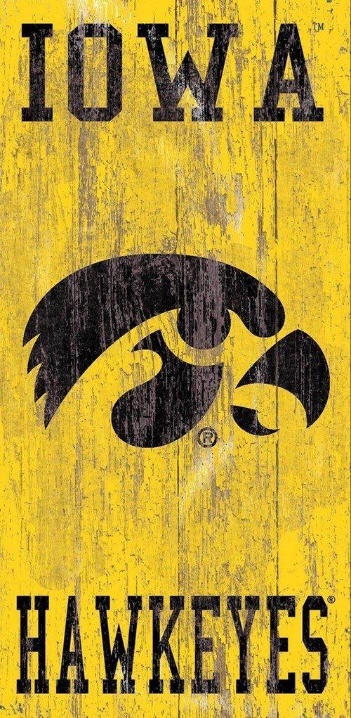 Fan Creations Distressed Iowa Heritage Logo w//Team Name 6x12 One Size
