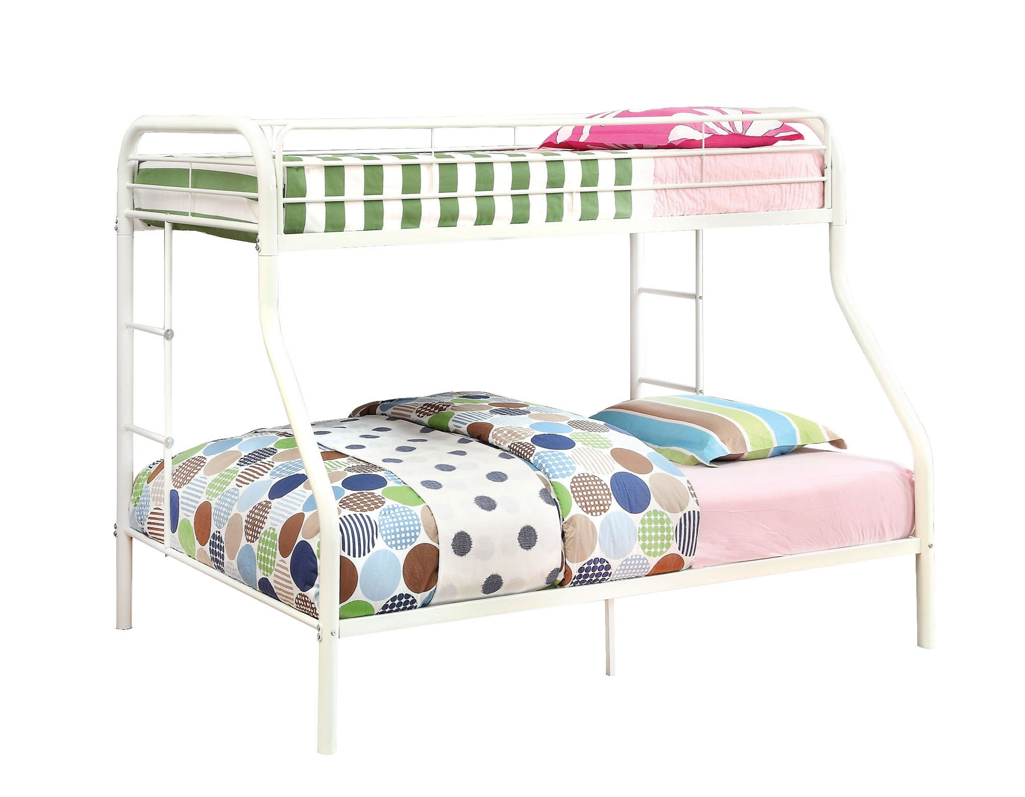 Furniture of America Non-Recycled Metal Bunk Bed, Twin Over Full, White