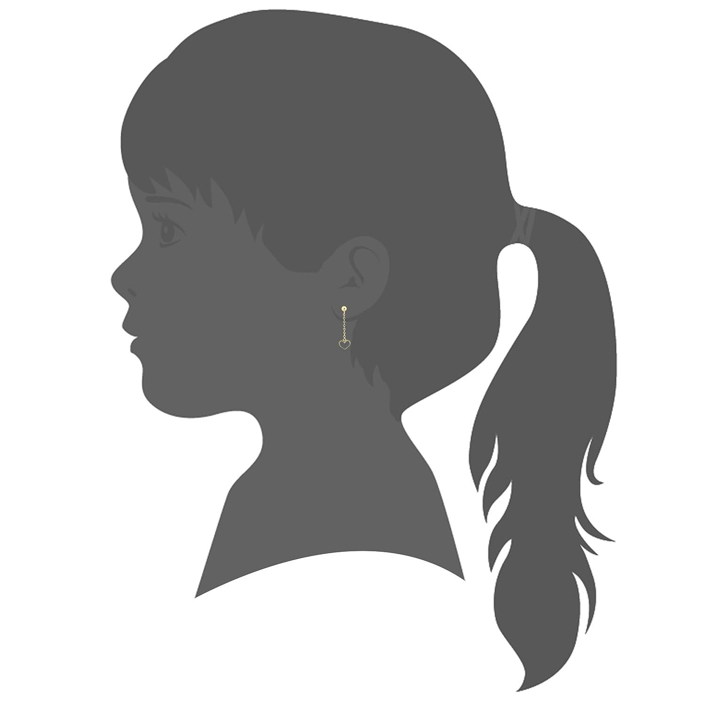 UNICORNJ Childrens Tweens Teens 14k Yellow Gold Open Heart Long Dangle Post Earrings Italy