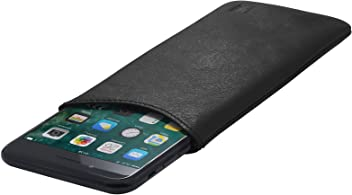 StilGut Pouch custodia smartphone Sleeve in morbida pelle di Nappa misura XL, Nero nappa | Compatibile tra gli altri con iPhone 7 Plus, iPhone 6 Plus, Samsung Galaxy Note 4, BlackBerry DTEK50