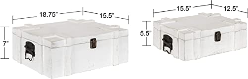 Kate and Laurel Clearly Vintage Storage Wood Trunk Set, 2 Pieces, White, Rustic Decor and Convenient Storage