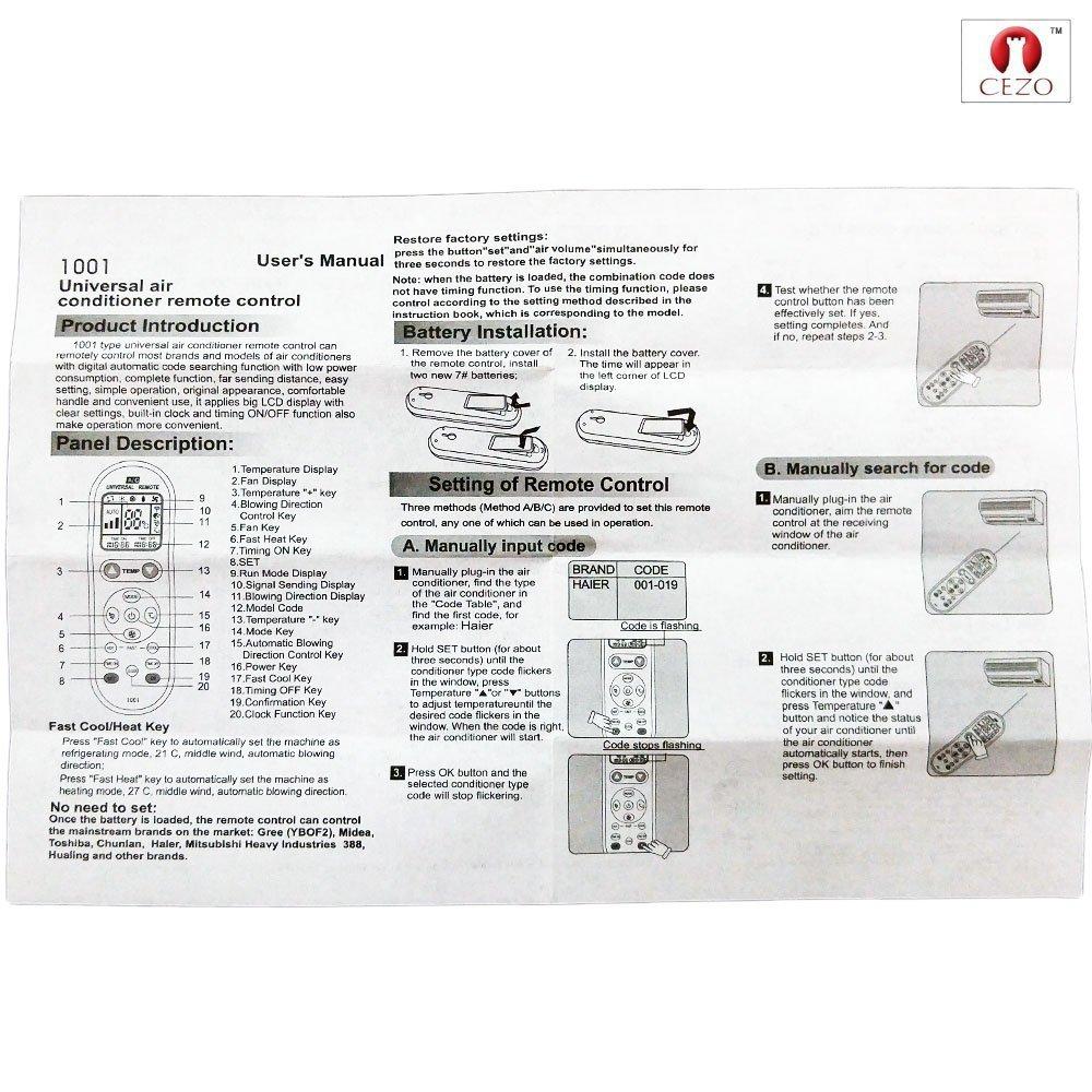 Amazon com: CEZO Air Conditioner Remote AC Control - Universal