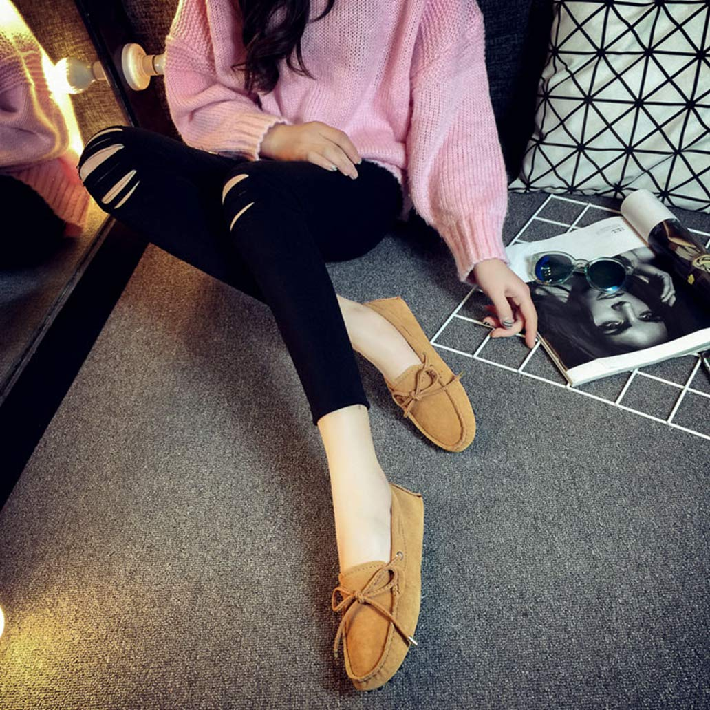 York Zhu Women Flats-Shoes Lady Butterfly-Knot Loafer Shoe Casual Slip on Leather Shoes by York Zhu (Image #4)