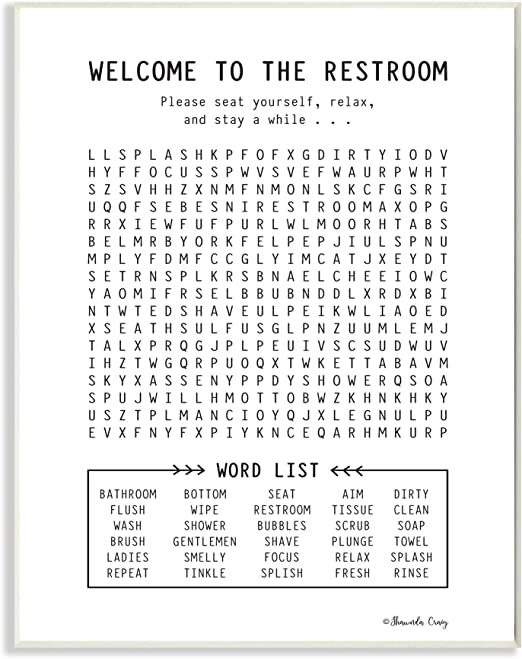 Amazon Com Stupell Industries Black And White Restroom Crossword Puzzle Sign Wall Plaque 13 X 19 Design By Artist Shawnda Craig Posters Prints