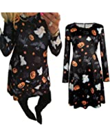Women Dress,Haoricu Women Halloween Pumpkin Skull Print Long Sleeve Party Swing Mini Dress