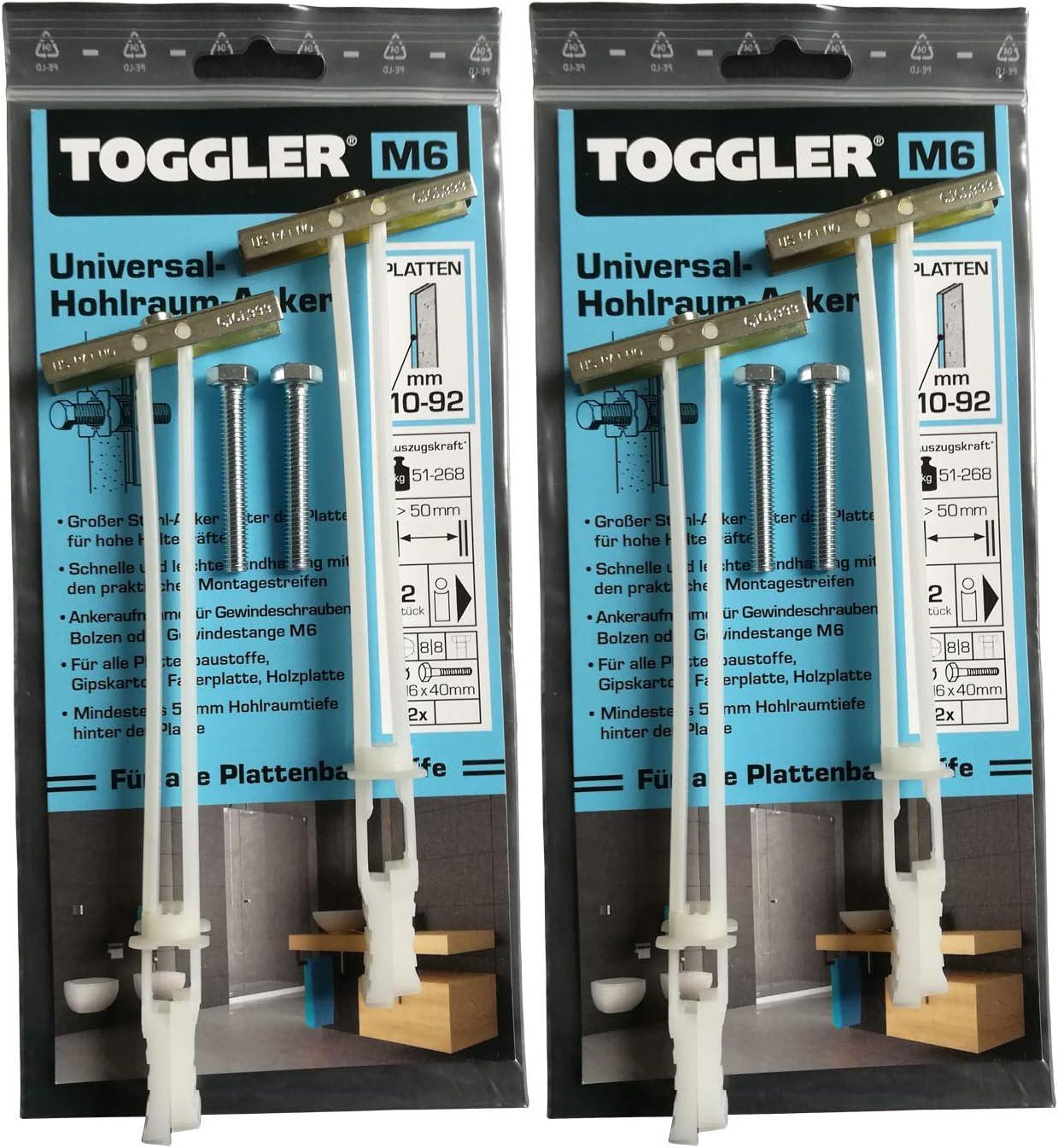 4 TOGGLER Hohlraumanker M6 und 4 Bolzen 10-92 mm Plattenst/ärke