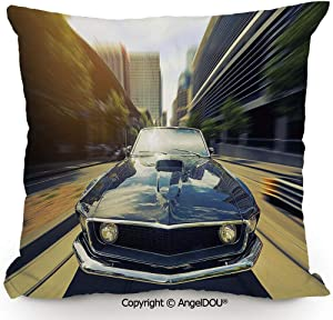 AngelDOU Fashion Sofa Cotton Linen Throw Pillow Cushion,Vintage Classic Car in Urban Street Old Fashion Auto in Town Nostalgia Picture,Bed Office car Pillow Customized Accept.23.6x23.6 inches