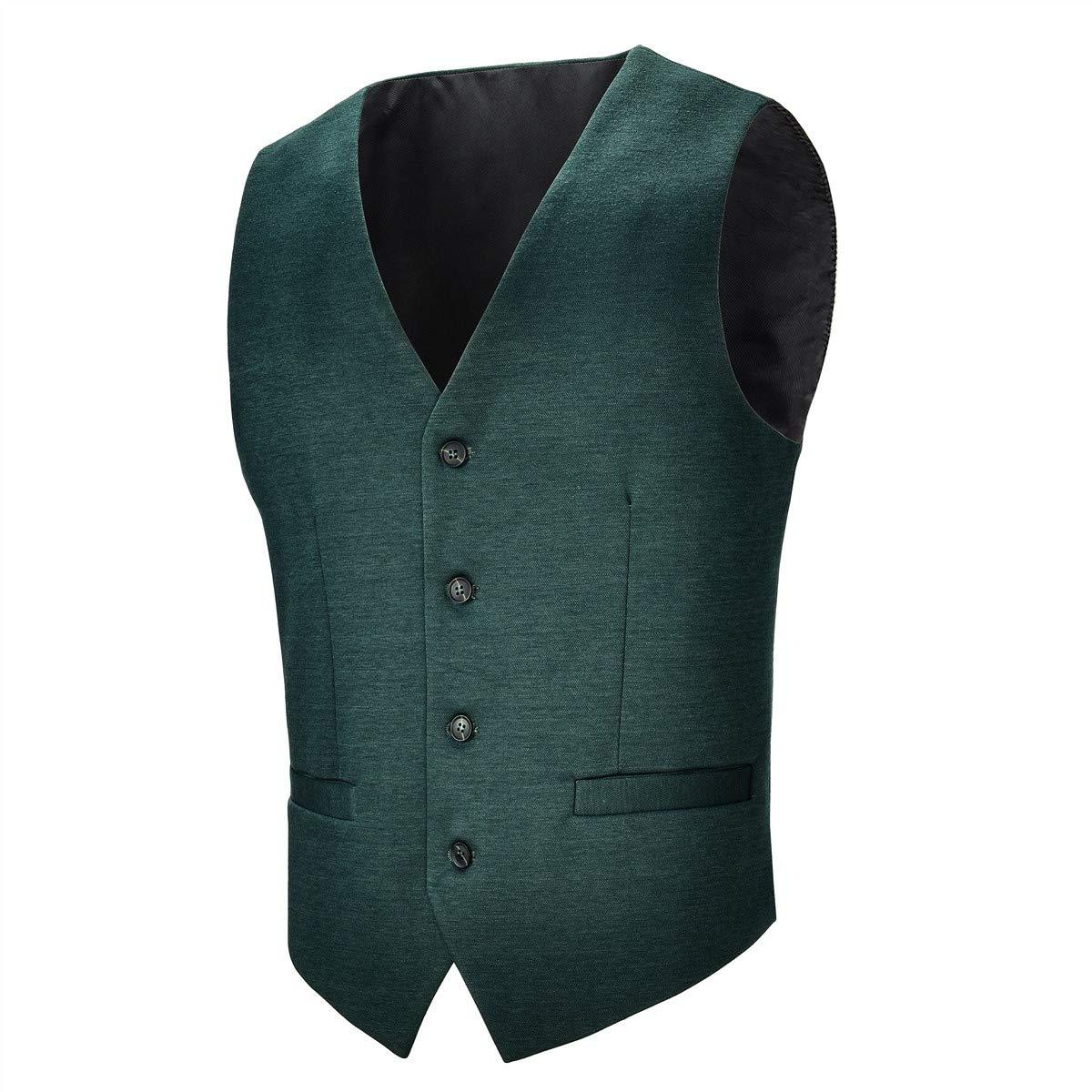 BOTVELA Mens Casual Dress Vest 4 Button Waistcoat (Dark Green, L) by BOTVELA