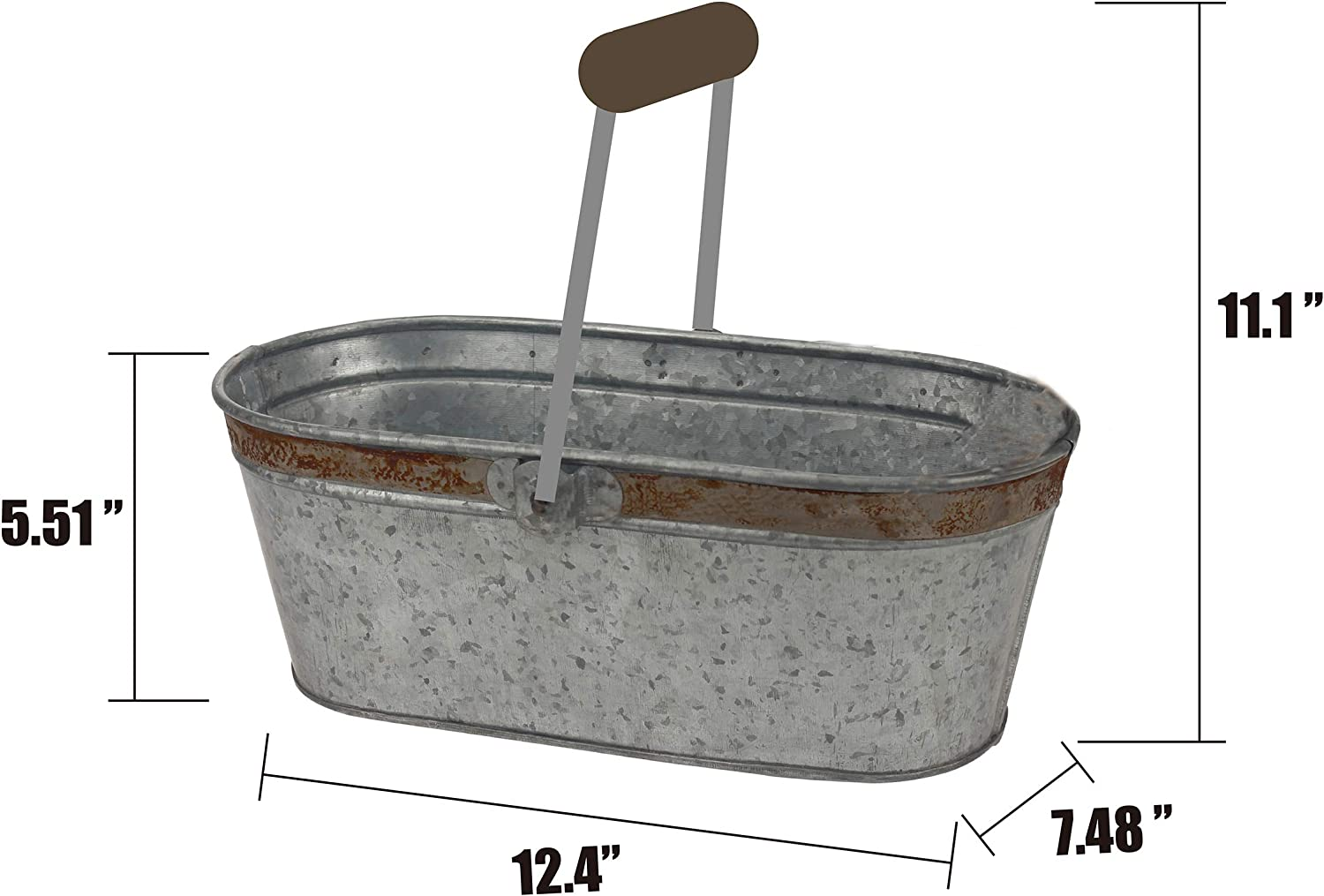 Stonebriar Small Aged Galvanized Metal Oval Bucket with Wooden Handle: Home & Kitchen