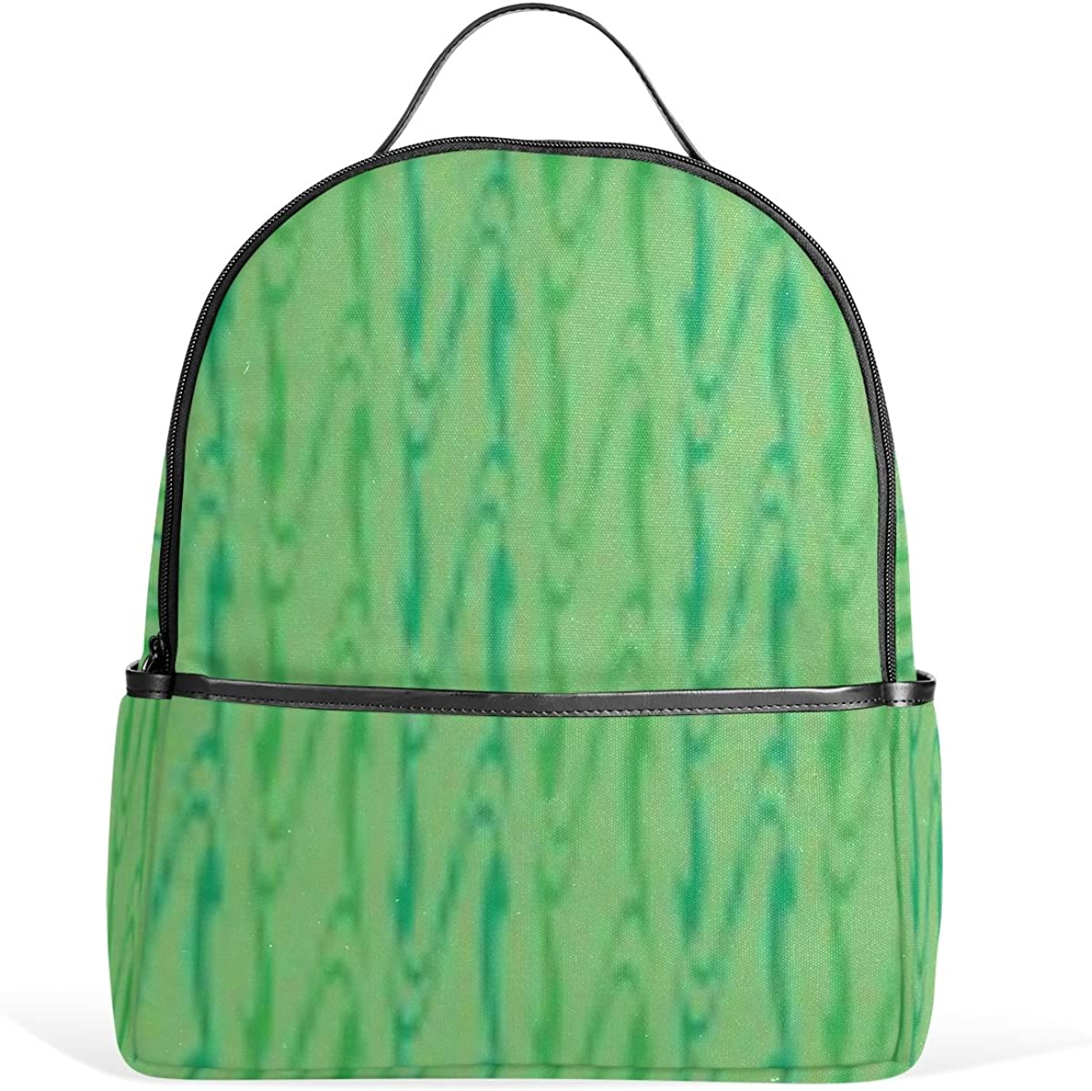Mr.Weng Green Spiral Printed Canvas Backpack For Girl and Children