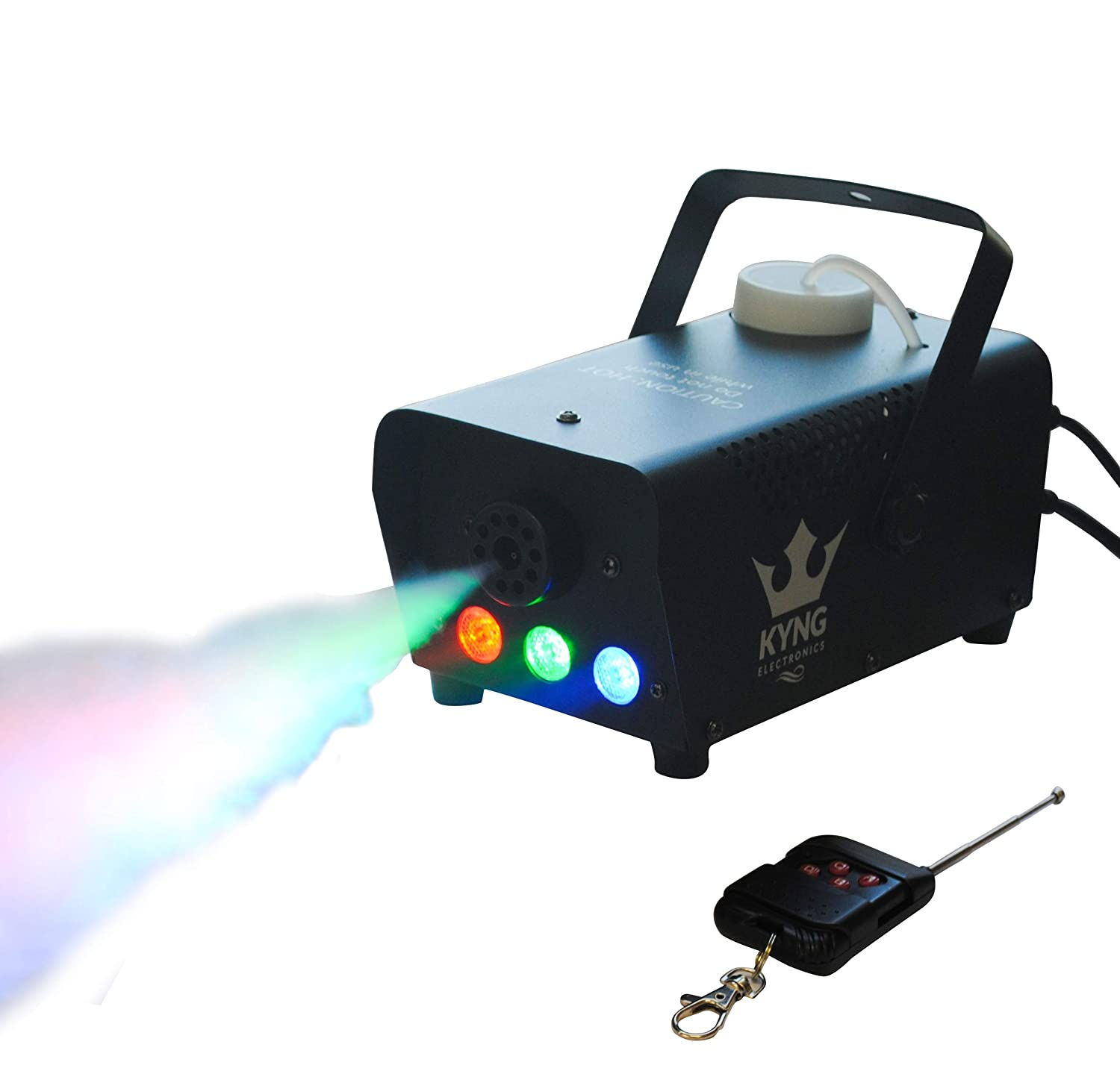 Fog Smoke Haze Machine 400W + LED Lights + Wired/Wireless Remotes- Portable for DJ, Halloween, Party, Concerts, Weddings, Christmas, Holidays, Mist Maker PREMIUM FOG MACHINE by KYNG ELECTRONICS