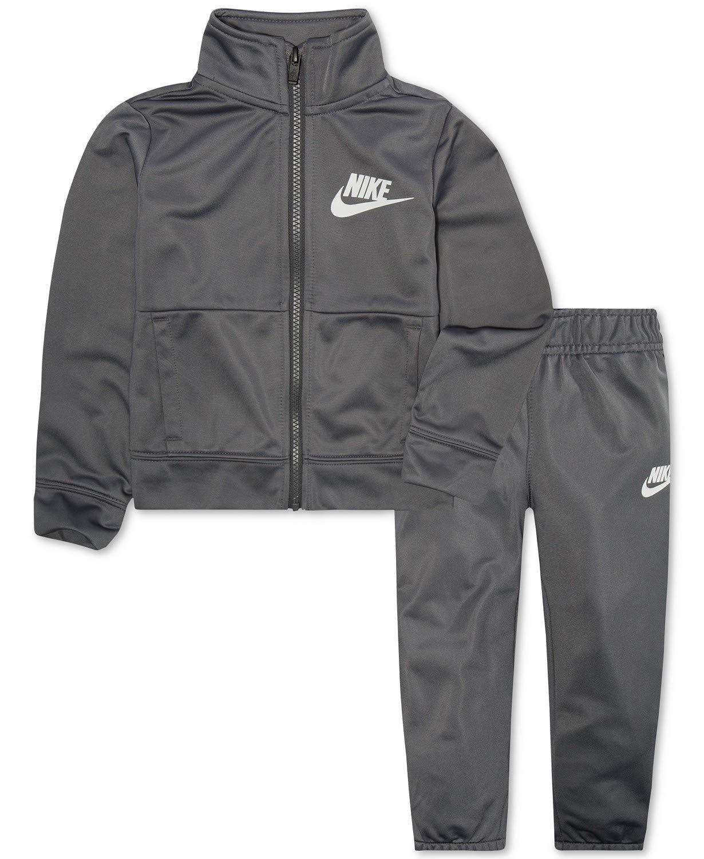 Nike Boy`s Futura Tricot Jacket and Pants Set (Dark Grey(8ME130-G1A)/White, 4)