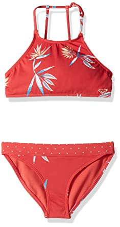 0957ca1132 Roxy Big Girls' Folky Way Crop Top Swim Set, chrysanthemium Rough Flowers,  ...