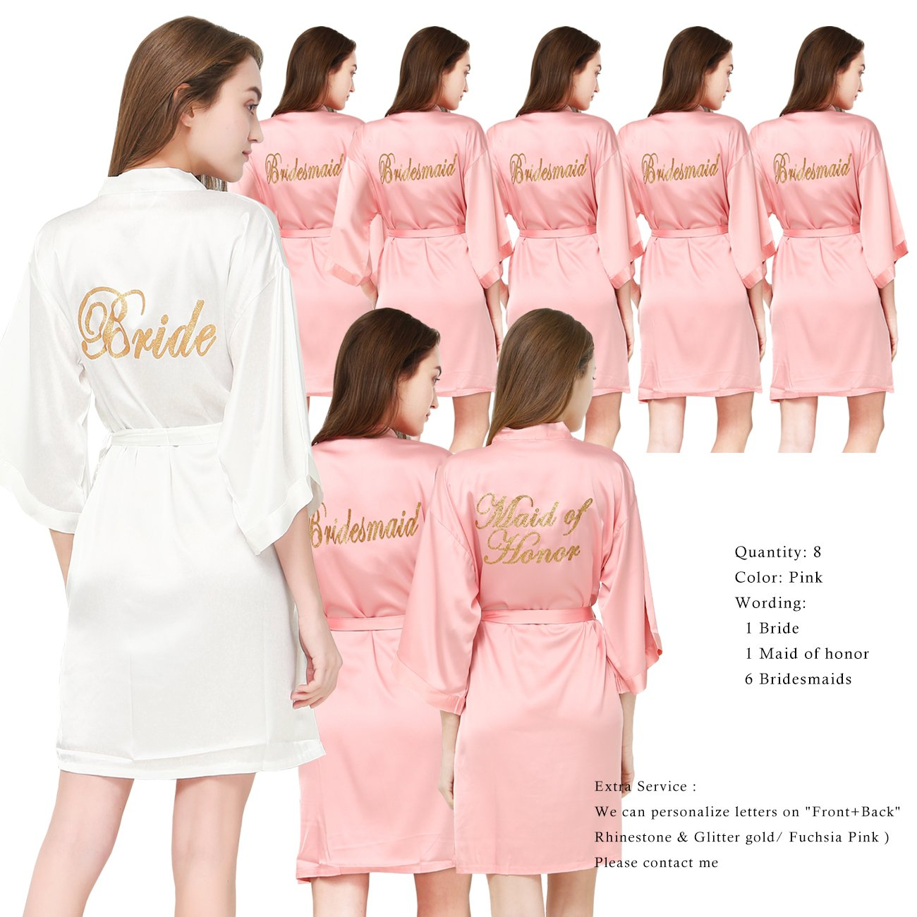 PROGULOVER Set Of 8 Women's Satin Kimono Robes For Bride Bridesmaid With Gold Glitter Wedding Party Maid Of Honor Robes