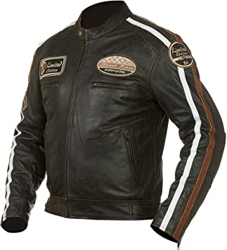 Grand Canyon Chaqueta de piel chaqueta hombre retro Moto Chaqueta de Nevada marrón Talla 52: Amazon.es: Coche y moto