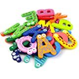Cinlla A-Z Alphabet Magnetic Letters Words Wooden Cartoon Fridge Magnet for Literacy & Spelling - Kid Baby Educational Toy - Educational Alphabet Refrigerator Magnets - 26pcs/Set