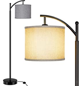 Floor Lamp for Living Room, Modern Standing Lamp with Cream/Gray Color Fabric Lampshade for Bedroom, Office, Hotel ,Study Room with Floor Switch- Standard E26 Lamp Base