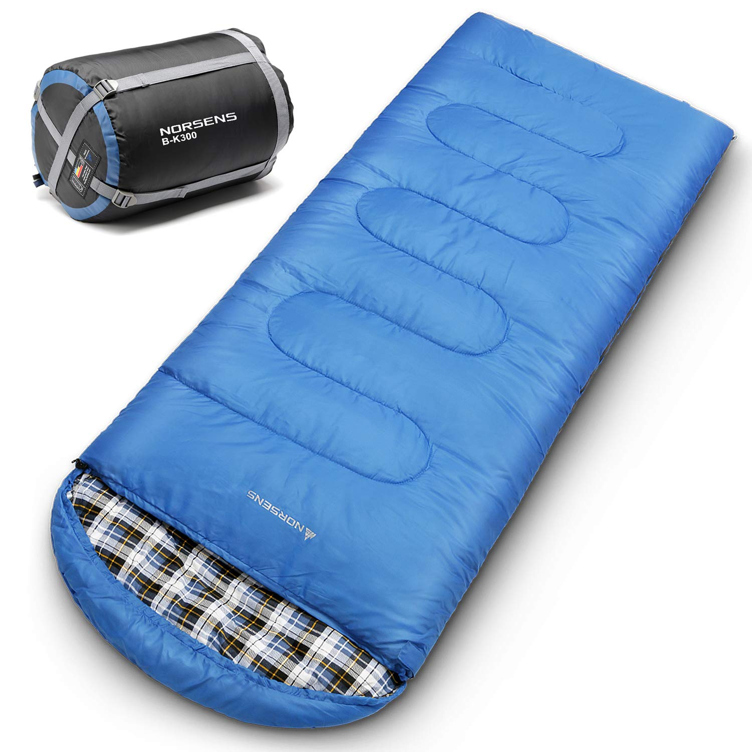 NORSENS 0 Degree Ultralight Cold Weather Sleeping Bags for Camping, Backpacking, Hiking, Traveling. Thickened Outdoor Lightweight Sleeping Bag with Compression Sack for Adults. 90.5 x 33.4 inch, Blue by NORSENS