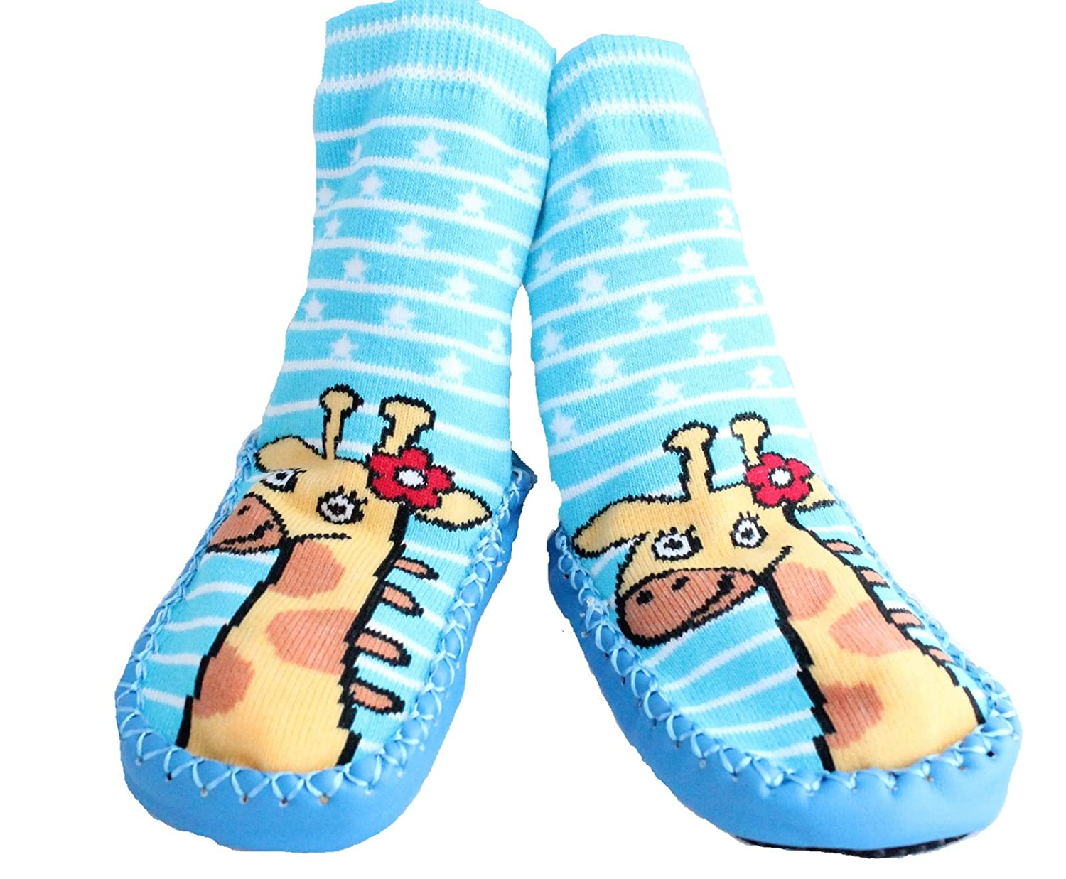 Baby Toddlers Kids Indoor Slippers Shoes Socks Moccasins NON SKID BLUE STRIPED GIRAFFE (9-18 MTHS)