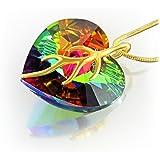 LillyMarie Damen-Kette Silber 925, original Swarovski Elements mehrfarbig Herz-Anhänger, vergoldet, 45 cm, mit Schmuckbox