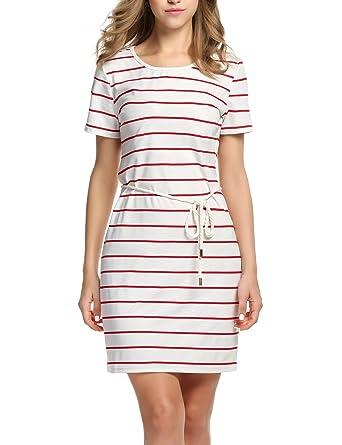 HOTOUCH Women s Nightgown Cotton Sleep Shirt Striped Robes Nightwear   Striped  Mini Dress Red White XXL ba3c462b6
