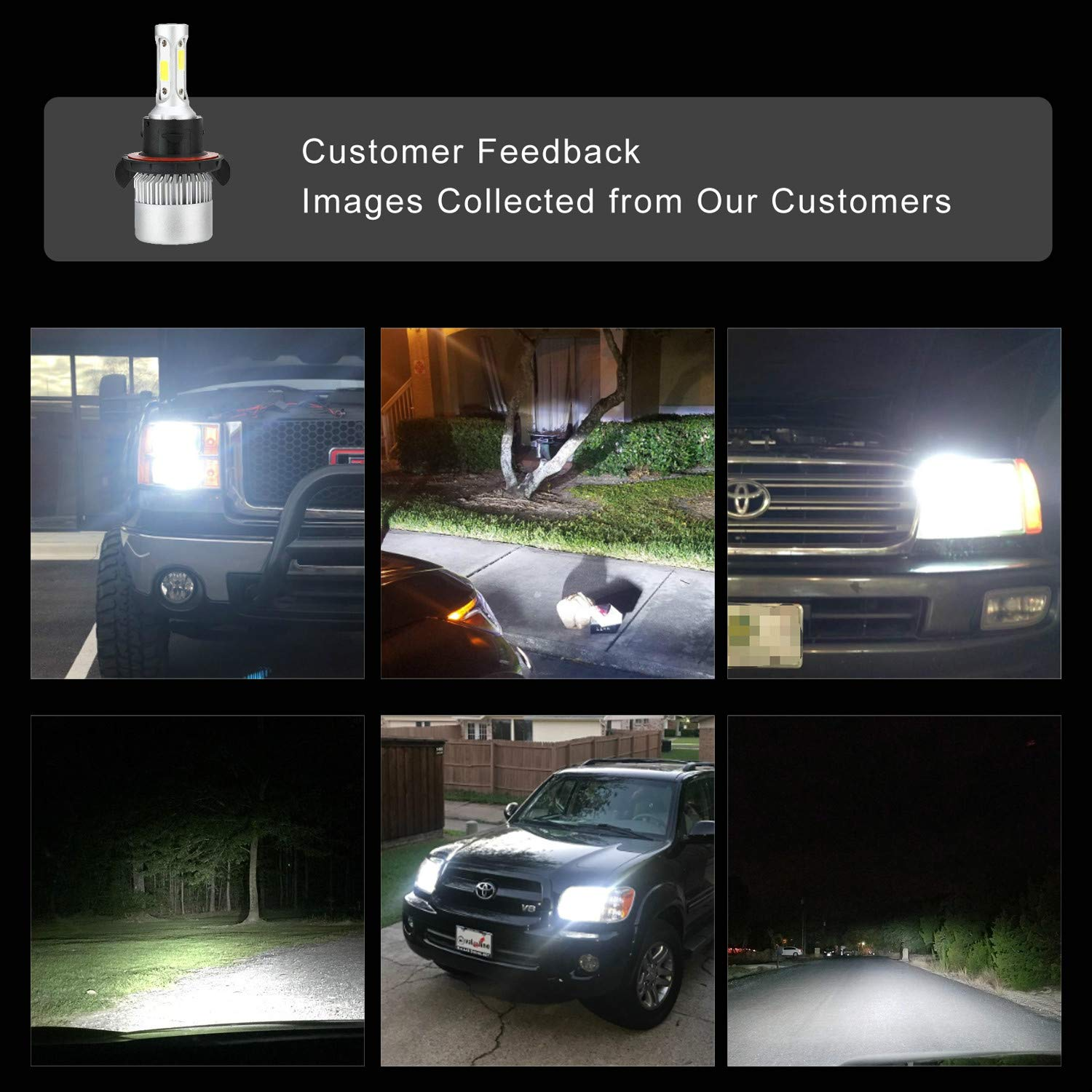 2Pcs 8000Lm 6000K Cool White with Super Bright 2 Year Warranty H11 H8, H9 LED Headlight Bulbs All-in-One Conversion Kit