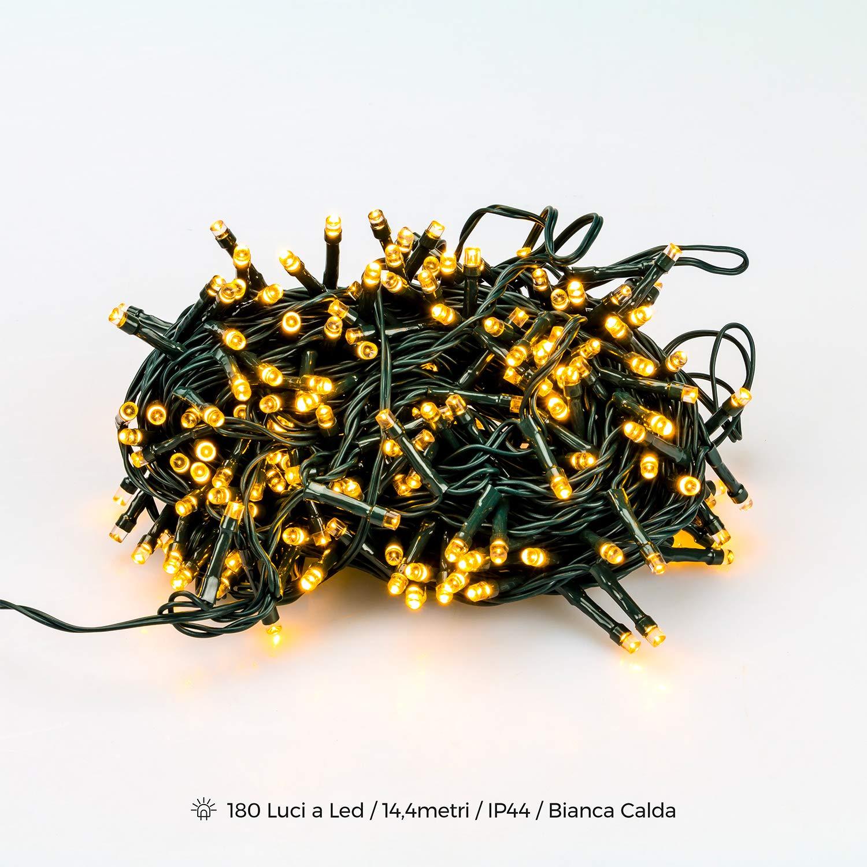 Catena 180 Luci a Led Filo Verde per Albero di Natale Catena Luminosa con Controller 8 Funzioni Lampadine Minilucciole Lucciole per interno ed esterno (Luce Bianca Calda) Wintem