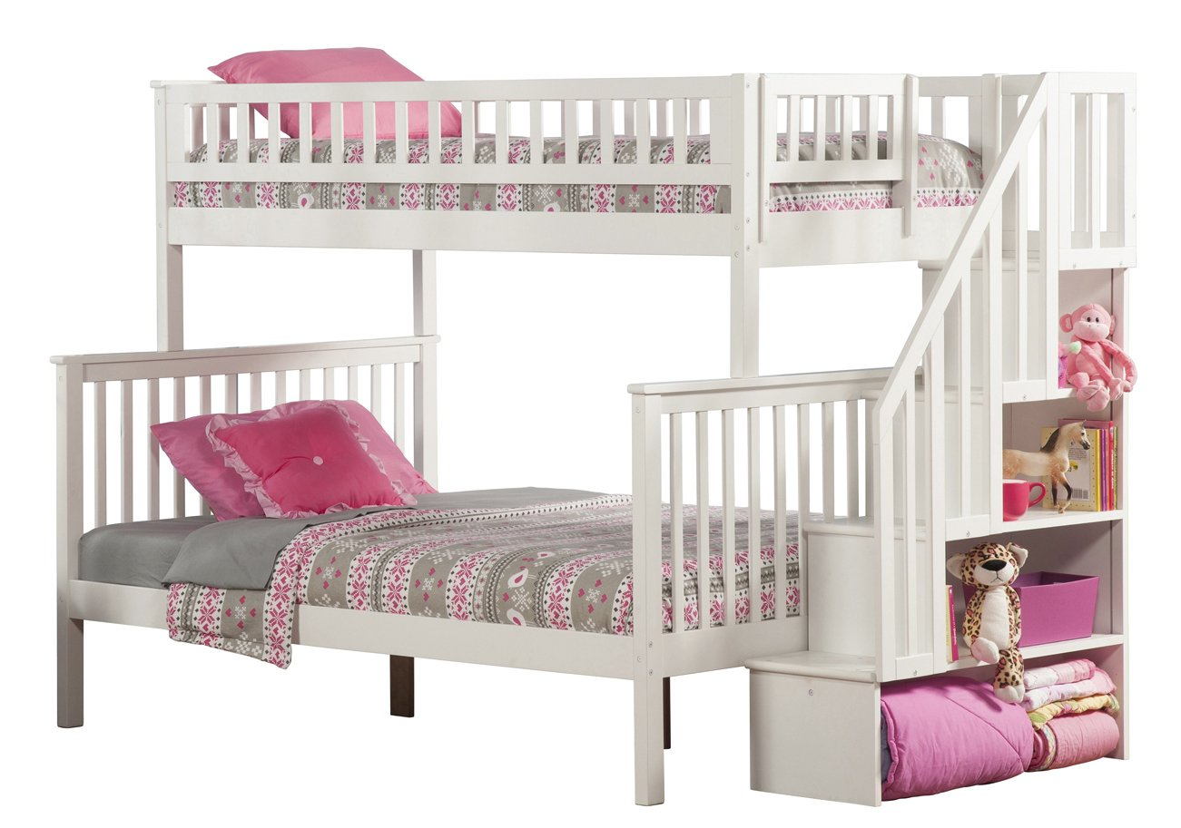 Amazon Woodland Staircase Bunk Bed White Twin Over Full Kitchen Dining