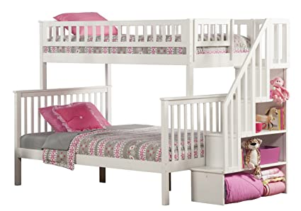 Amazon.com: Woodland Staircase Bunk Bed, White, Twin Over Full ...