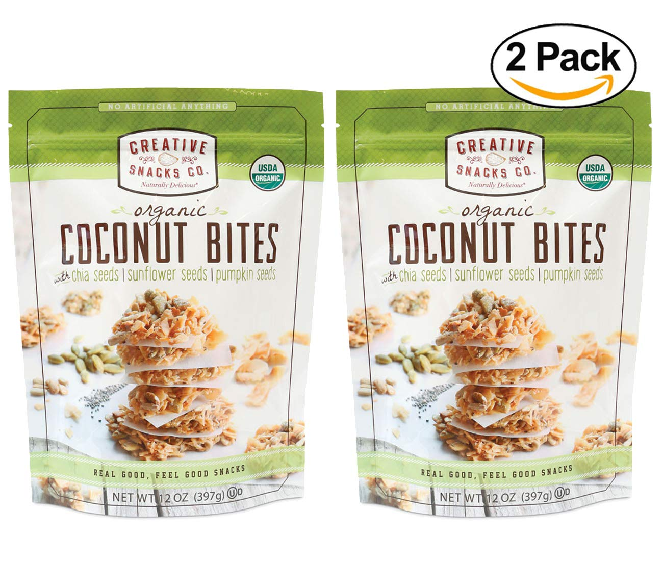 Creative Snacks Naturally Delicious Organic Coconut Bites with Chia, Sunflower and Pumpkin Seeds, 2 Pack, 12 Ounce Resealable Bags