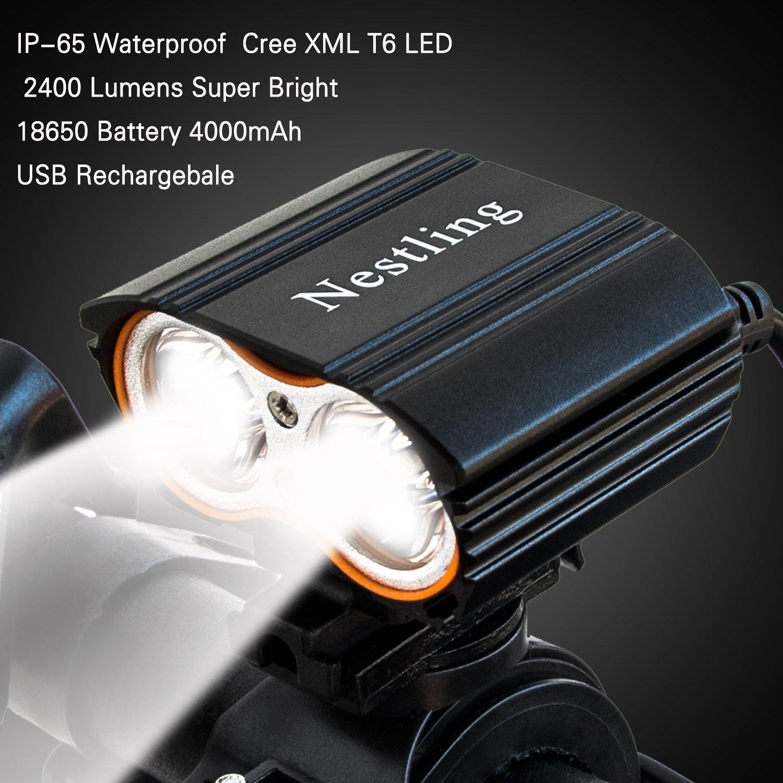 QITAO impermeable, USB recargable luz delantera para bicicleta, super brillante impermeable, luz delantera y trasera para bicicleta, fácil de instalar, ...