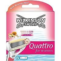 Wilkinson Sword Quattro for Women Klingen Papaya und Pearl, 6 Stück
