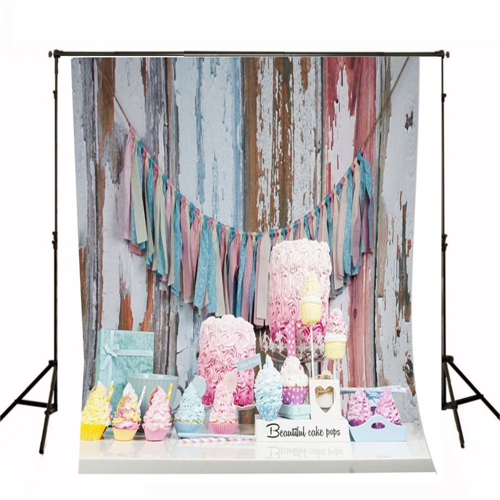 Generic Happy Birthday Pennant Booth Photographic Backdrop Vintage Wood Wall Background Colored Cakes Baby Newborn Photography Photo Studio Props Kids Children Shoot Picture LQ-2409