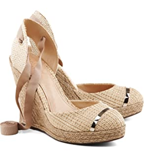 f517af471e6b SCHUTZ Caitia Natuarl Nude Canvas Rope Espadrille Wedge Pump Tie-Up Sandals