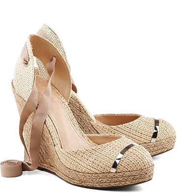 104bc52e571 SCHUTZ Caitia Natuarl Nude Canvas Rope Espadrille Wedge Pump Tie-Up Sandals  (9)
