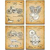 Original Harley Davidson Patent Art Prints - Set of Four Photos (8x10) Unframed - Great Gift for Hog Riders