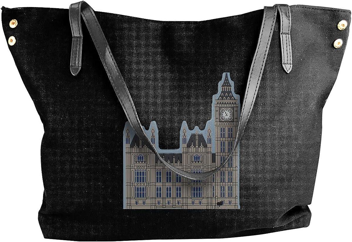 Womens Canvas Large Tote Shoulder Handbag London Clock Big Ben Messenger Bags