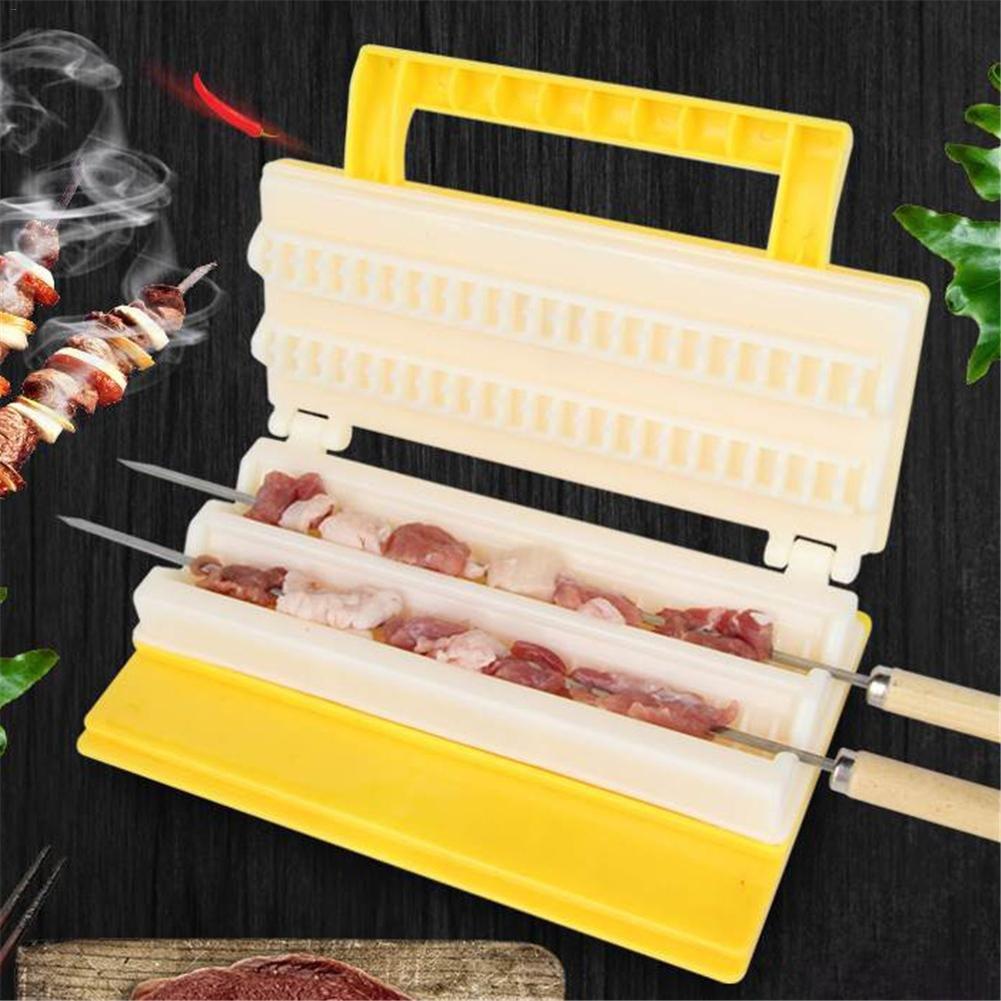 Bulary BBQ Meat Skewer Tool Multi-función de doble fila de la máquina de barbacoa utiliza pinchos de carne Quick Barbecue Kebab String Device Wear Tools