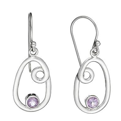 Silverly Women's .925 Sterling Silver Amethyst Gemstone Oval Teardrop Dangle Drop Earrings qVNuVmJ